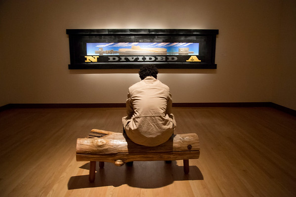 01/29/20 Wesley Bunnell | StaffrrChad Milling of Hartford sits to look over an art piece Divided at the New Britain Museum of American Art on Wednesday January 29th, 2020.