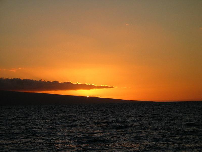Sunset over Lanai, Hawaii from the Kealaikahiki Channel