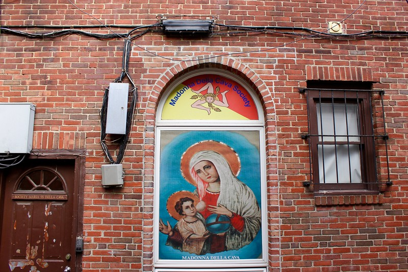 sign of the Madonna Della Cava Society in Boston's North End