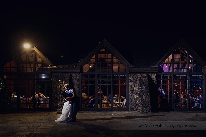 wnight shot of bride and groom at Brazilian Room - Tilden Regional Park, Berkeley