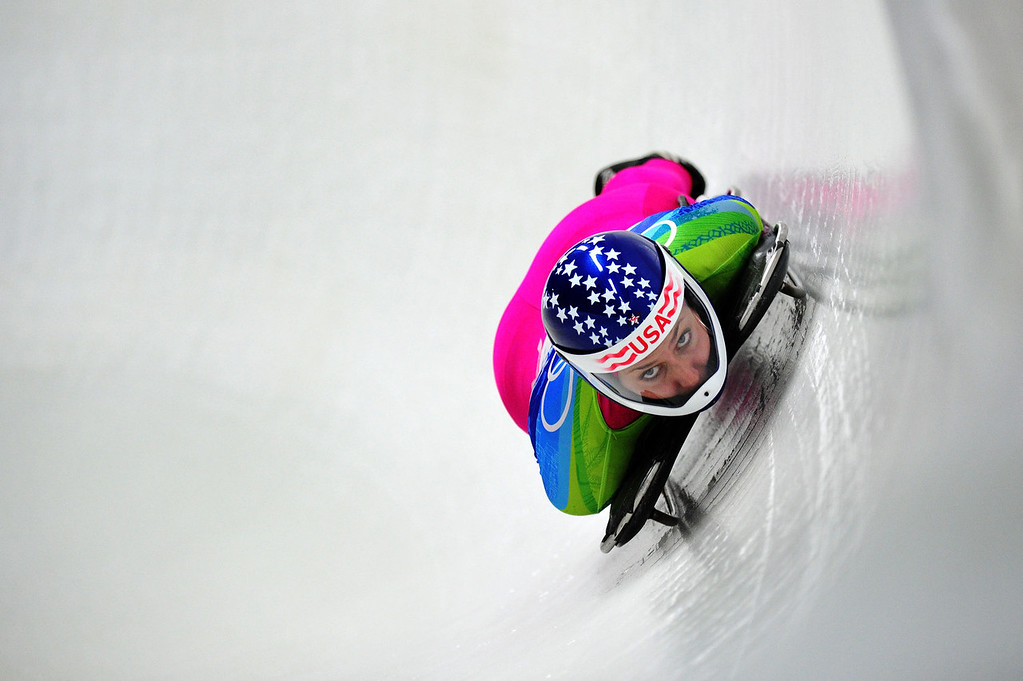 . Noelle Pikus-Pace of The United States competes in the women\'s skeleton run 2 on day 7 of the 2010 Vancouver Winter Olympics at The Whistler Sliding Centre on February 18, 2010 in Whistler, Canada.  (Photo by Clive Mason/Getty Images)