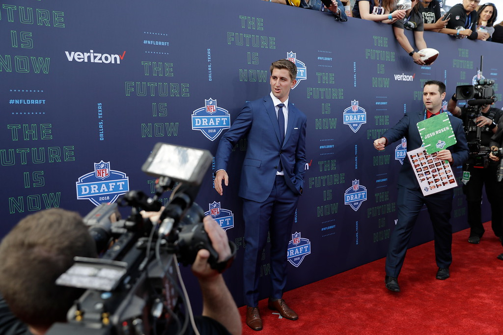 . UCLA\'s Josh Rosen poses for photos on the red carpet before the first round of the 2018 NFL football draft, Thursday, April 26, 2018, in Arlington, Texas. (AP Photo/Eric Gay)