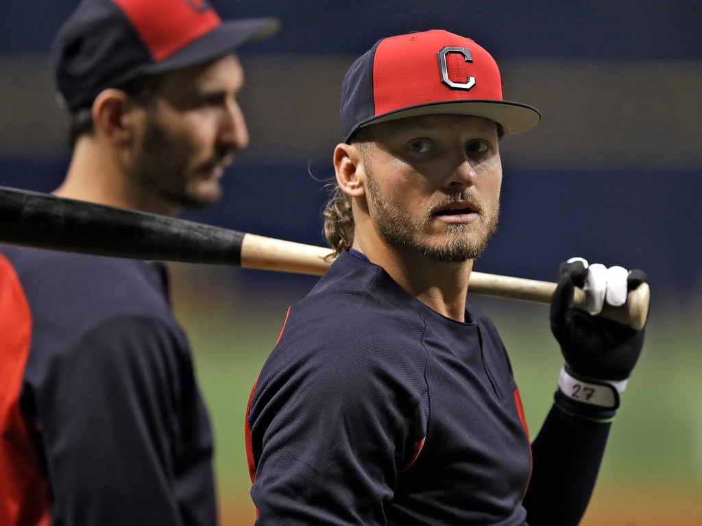 . Cleveland Indians\' Josh Donaldson awaits his turn in the batting cage before a baseball game against the Tampa Bay Rays, Monday, Sept. 10, 2018, in St. Petersburg, Fla. Donaldson was acquired in a trade with the Toronto Blue Jays. (AP Photo/Chris O\'Meara)