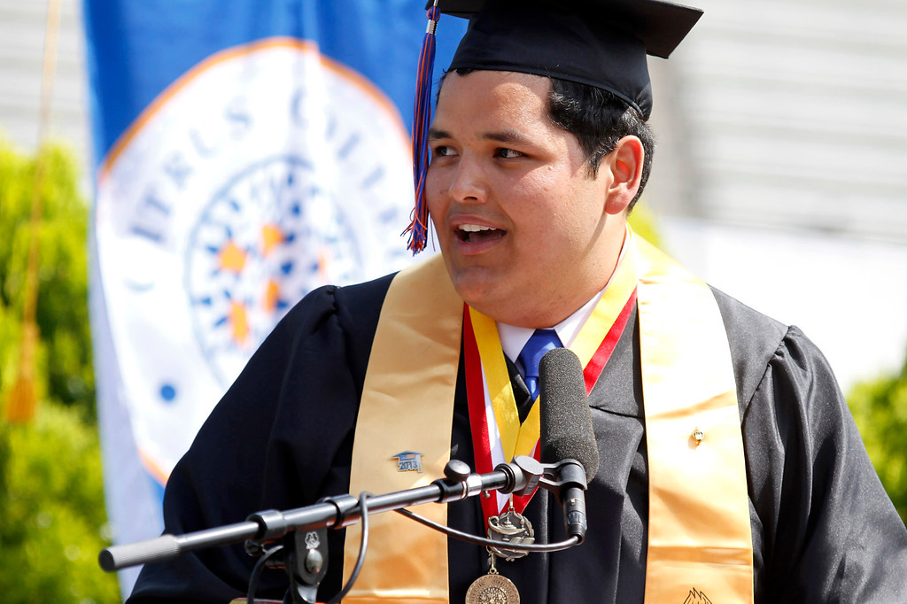 . Mr. Andres (Andy) Navarro, Student Commencement Speaker, during Citrus College 97th Commencement Ceremony, at Citrus College Stadium, in Glendora, Saturday, June 15, 2013. (Correspondent Photo by James Carbone/SVCITY)