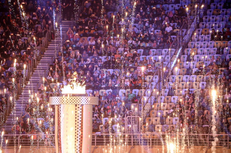 APG Opening Ceremony - Torch lit and fireworks at Bukit Jalil Stadium on September 17th, 2017 (Photo by Sanketa Anand)