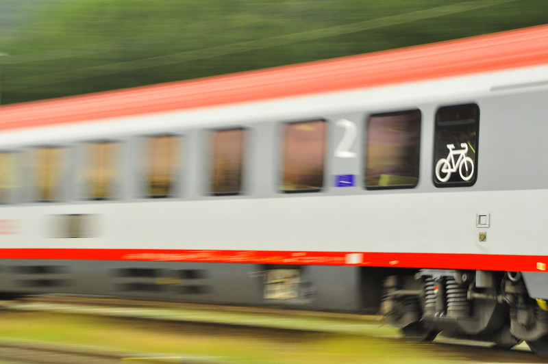 a train blazing by our Drau River trail.  I like the bike!