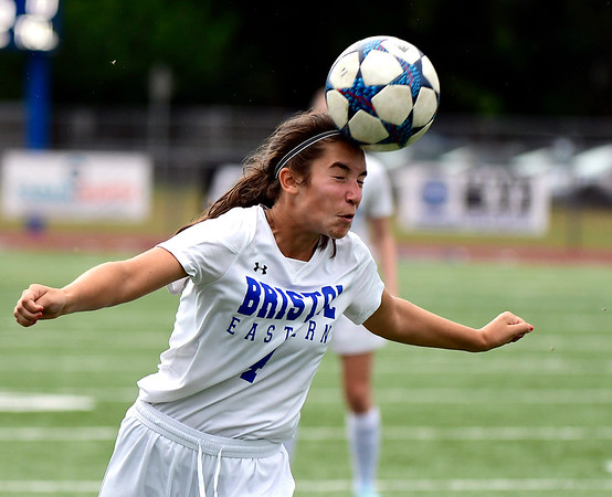 9/11/2018 Mike Orazzi | Staff Bristol Eastern's Mollie Lewis (4) during Tuesday's soccer with Plainville.