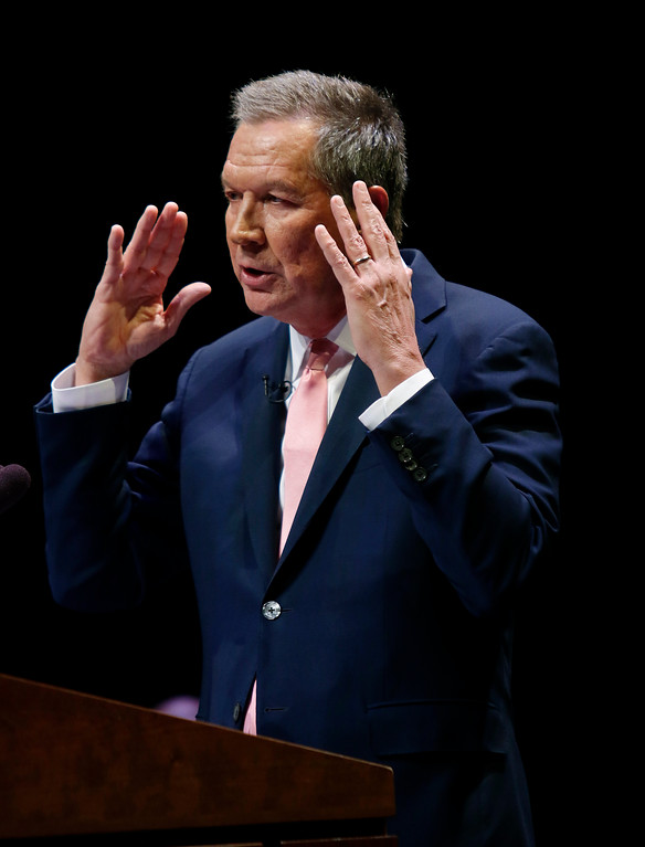 . Ohio Gov. John Kasich speaks during the Ohio State of the State address in the Fritsche Theater at Otterbein University in Westerville, Ohio, Tuesday, March 6, 2018. (AP Photo/Paul Vernon)