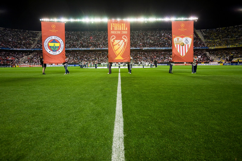 Banners with the badges of the teams. UEFA Champions League first knockout round game (second leg) between Sevilla FC (Seville, Spain) and Fenerbahce (Istambul, Turkey), Sanchez Pizjuan stadium, Seville, Spain, 04 March 2008.