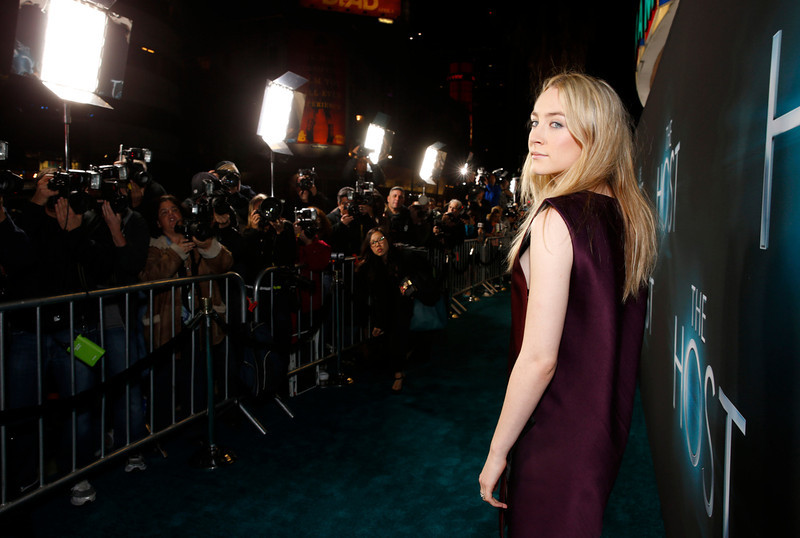 """. Saoirse Sonan arrives at the LA premiere of \""""The Host\"""" at the ArcLight Hollywood on Tuesday, March 19, 2013 in Los Angeles. (Photo by Todd Williamson/Invision/AP)"""