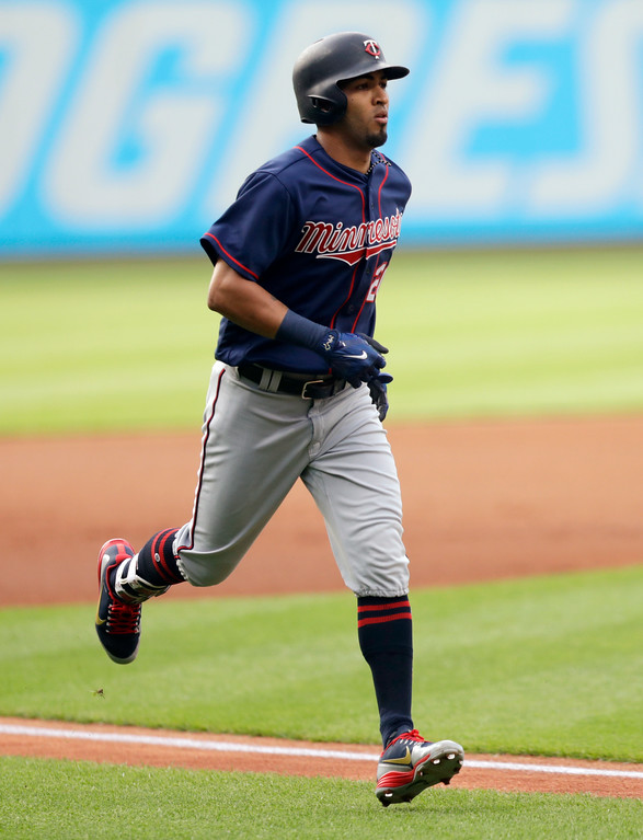 . Minnesota Twins\' Eddie Rosario runs the bases after hitting a solo home run off Cleveland Indians starting pitcher Corey Kluber during the first inning of a baseball game Friday, June 15, 2018, in Cleveland. (AP Photo/Tony Dejak)
