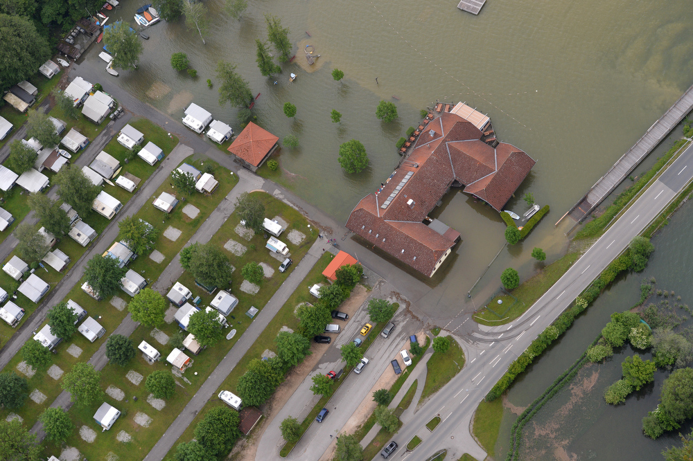 . A campground is flooded along in Waging am See, southern Germany, Monday, June 3, 2013. Flooding has spread across a large area of central Europe following heavy rainfall in recent days.  (AP Photo/dpa, Peter Kneffel)