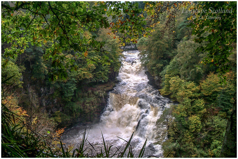 the Falls of Clyde in spate, at Corra Linn