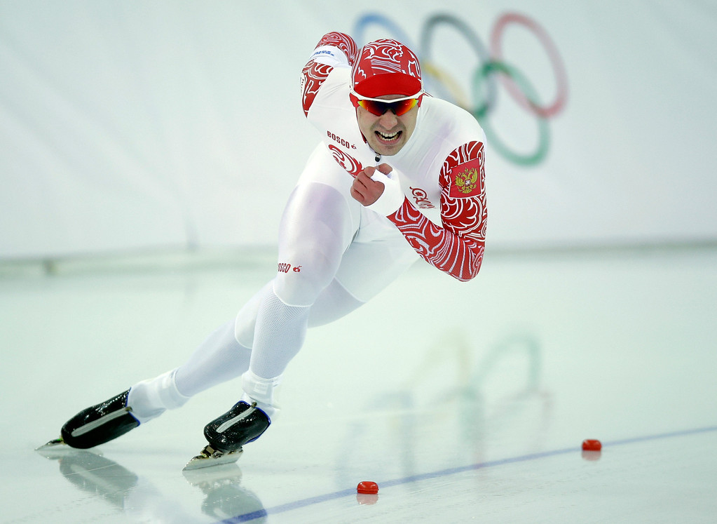 . Russia\'s Denis Koval competes in the second heat of the men\'s 500-meter speedskating race at the Adler Arena Skating Center during the 2014 Winter Olympics, Monday, Feb. 10, 2014, in Sochi, Russia. (AP Photo/Pavel Golovkin)