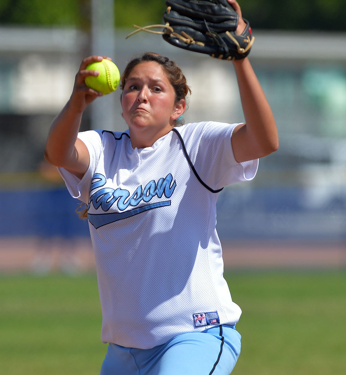 . 0522_SPT_TDB-L-SP-CARSON --Carson, California Daily Breeze Staff Photo: Robert Casillas / LANG Carson HS defeated Marine League rival San Pedro 6-0 in Los Angeles City softball semi-final. Ramie Barajas delivers a pitch.