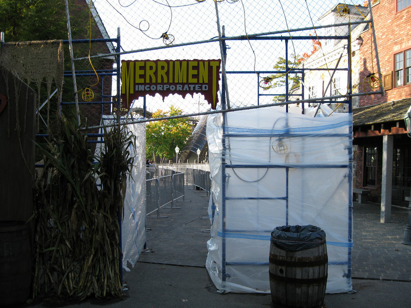 Entrance to the Merriment Incorporated haunted house.