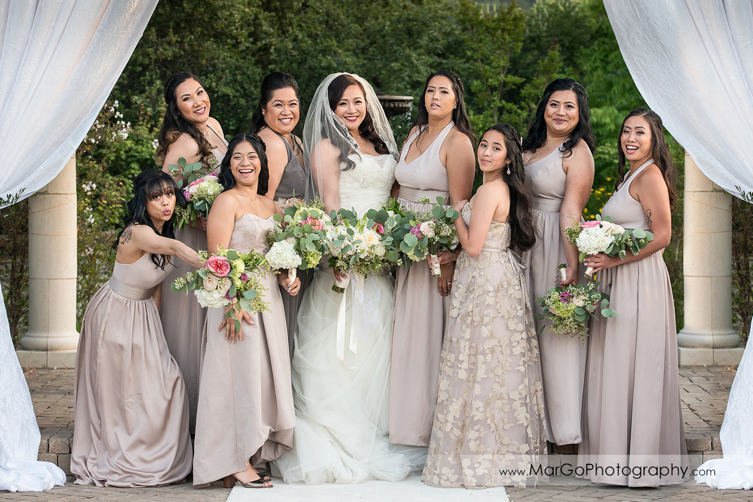 bride and bridesmaids at Sunol's Casa Bella