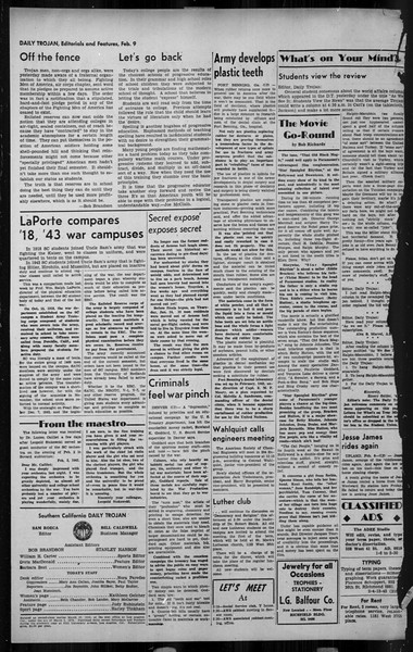 Daily Trojan, Vol. 34, No. 80, February 09, 1943