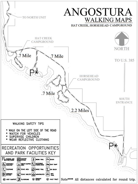 Angostura Recreation Area (Road Walking Map - Hat Creek & Horsehead Campgrounds)