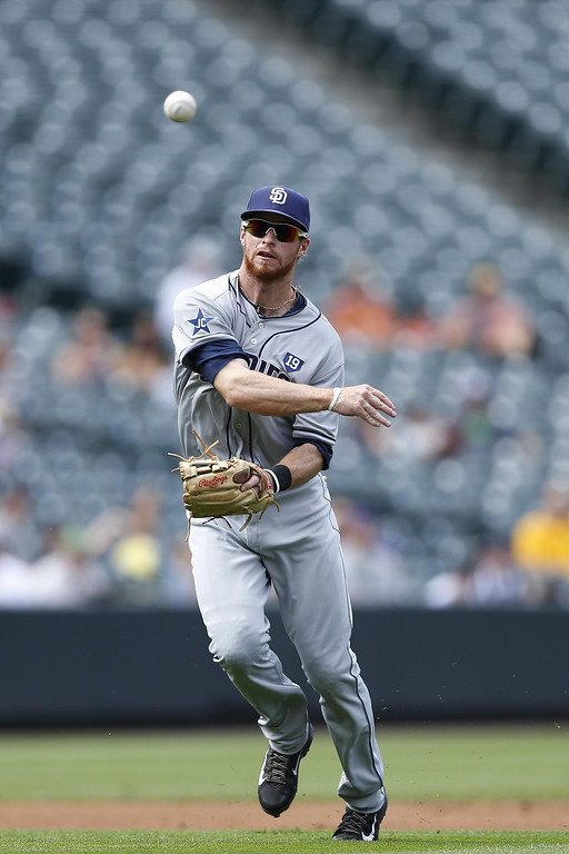 . Cory Spangenberg #15 of the San Diego Padres tries but is not able to make a play from third base in the first inning of the game against the Colorado Rockies at Coors Field on September 7, 2014 in Denver, Colorado. (Photo by Joe Robbins/Getty Images)