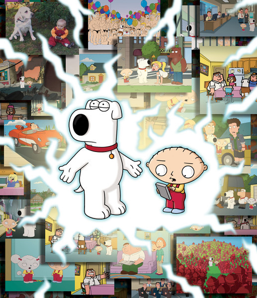 """. Stewie and Brian travel to multiple universes in the \""""Road to the Multiverse\""""  on FAMILY GUY. (2009/Fox)"""