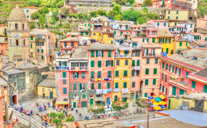 Vernazza's main square Piazza Marconi with the 14th century Church of Santa Margherita d'Antiochia on the left