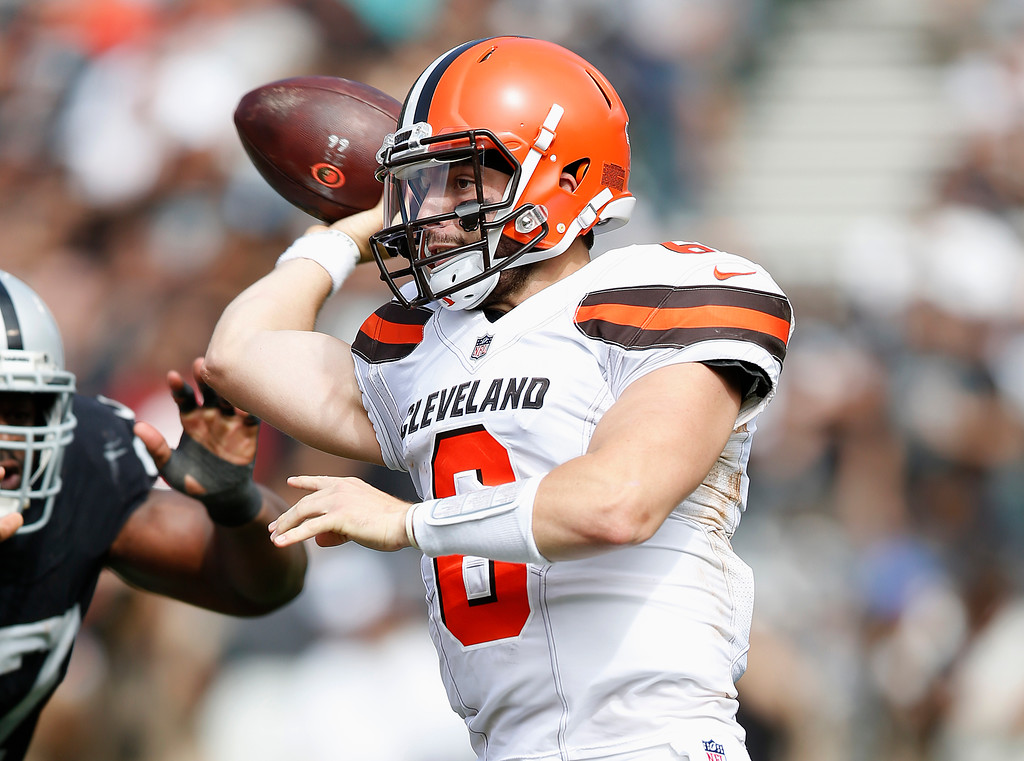 . Cleveland Browns quarterback Baker Mayfield (6) passes against the Oakland Raiders during the first half of an NFL football game in Oakland, Calif., Sunday, Sept. 30, 2018. (AP Photo/D. Ross Cameron)