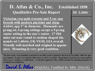 1.40ctw Antique Diamond Crescent and Star Brooch