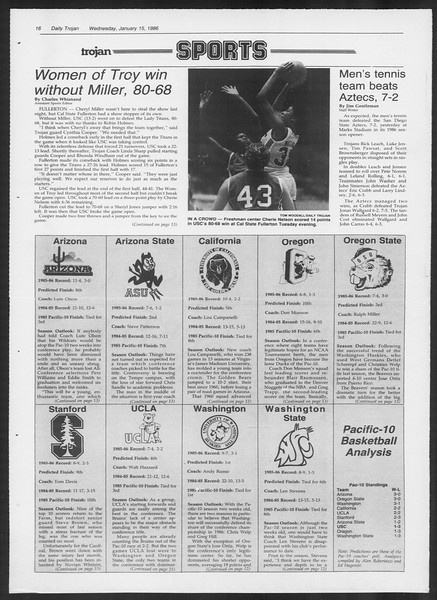 Daily Trojan, Vol. 100, No. 4, January 15, 1986