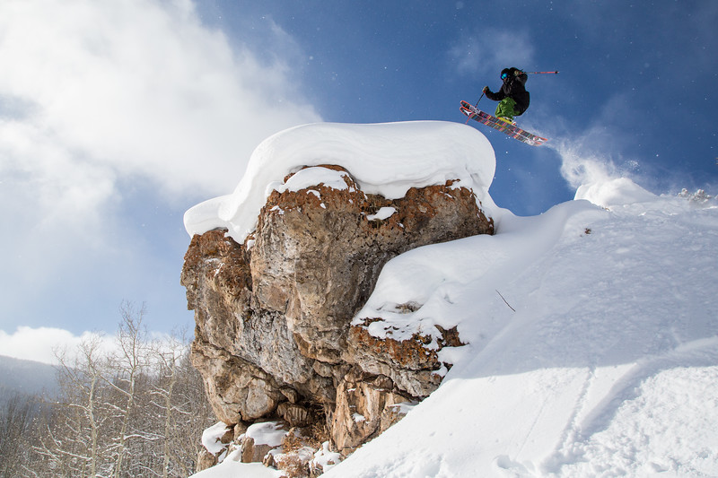 Vail Valley local Taylor Seaton gaps on to a   pillowed boulder somewhere in bounds at Vail Resorts on Thursday.  Seaton will be competing in the Apsen winter Xgames beginning on Jan. 28th.