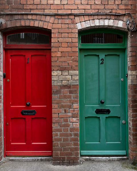 Closed doors of houses, Shandon, Cork City, Ireland