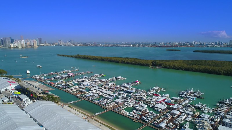 Aerial pull out shot Miami boat show drone aerial video 4k
