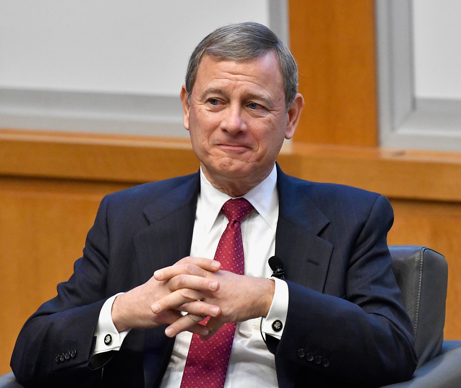 . Chief Justice John Roberts prepares to speak at the The John G. Heyburn II Initiative and University of Kentucky College of Law\'s judicial conference and speaker series, Wednesday, Feb. 1, 2017, in Lexington, Ky., a day after President Donald Trump nominated Neil Gorsuch to the Supreme Court. (AP Photo/Timothy D. Easley)