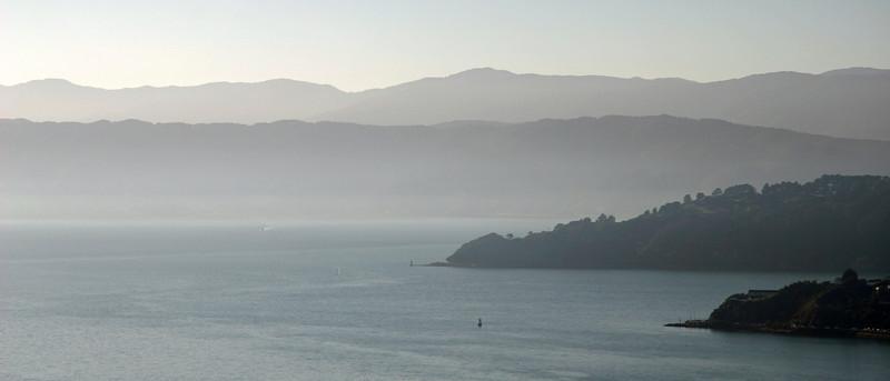 Hazy day over Wellington Harbour.  12 April 2011.