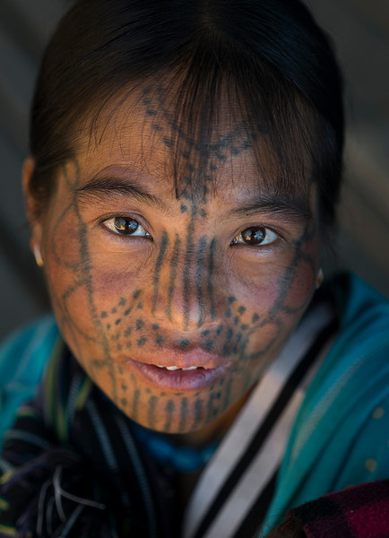 Portrait of a woman from the Muun tribe.  Chin State, Myanmar,Burma,2017.