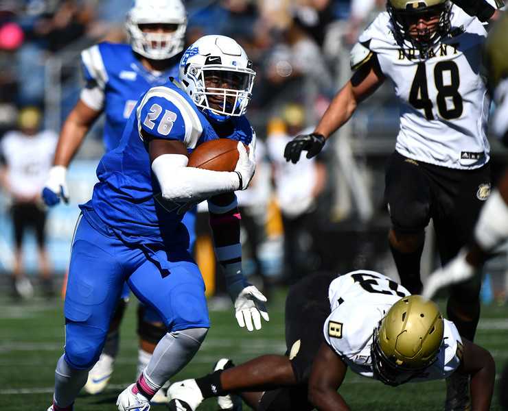 10/19/2019 Mike Orazzi | Staff CCSU's Keonte Lucas (26) during Saturday's football game with Bryant in New Britain.