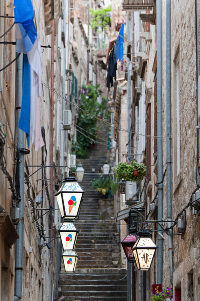 Colorful light posts at a side street in Dubrovnik, Croatia