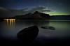 """Skies Ablaze"" XI, Lake Minnewanka, Banff National Park, Alberta, Canada."