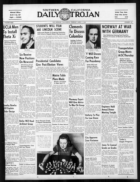 Daily Trojan, Vol. 31, No. 120, April 09, 1940