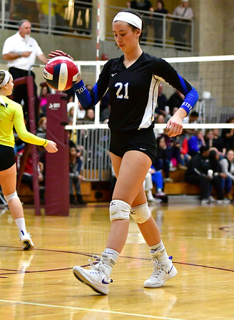 11/14/2018 Mike Orazzi   Staff Bristol Eastern's Aliana Rivoira (21)during the Class L Semifinal State Girls Volleyball Tournament with Woodstock Academy held at Windsor High School Wednesday night.