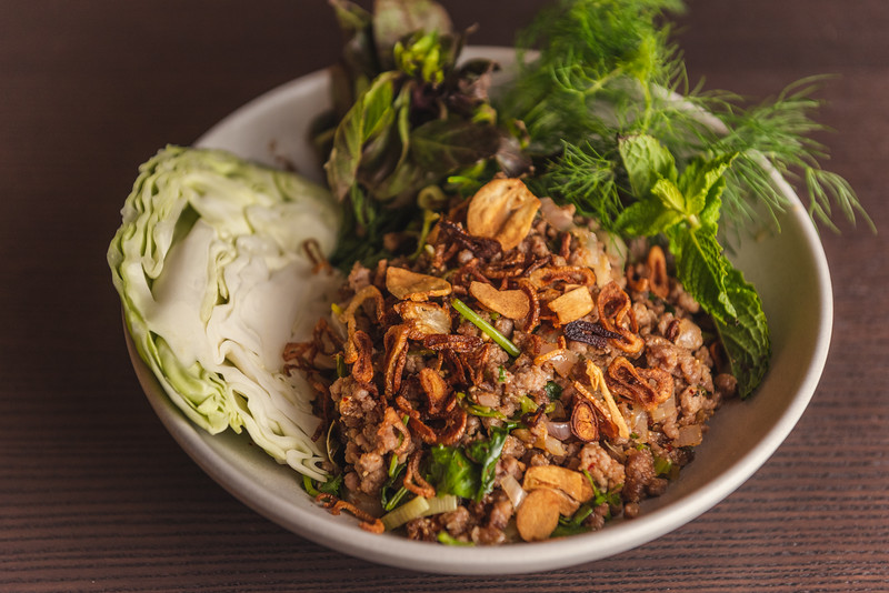 Pork Larb with crispy alliums and herbs