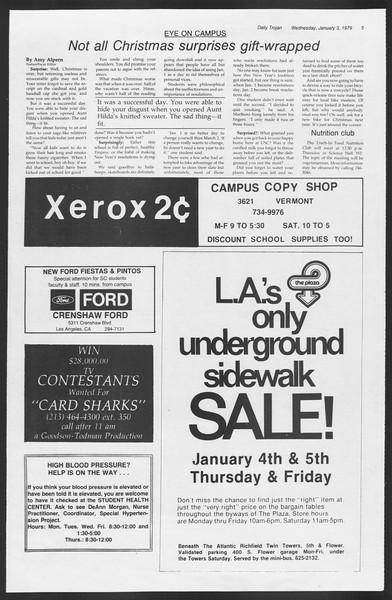 Daily Trojan, Vol. 75, No. 56, January 03, 1979