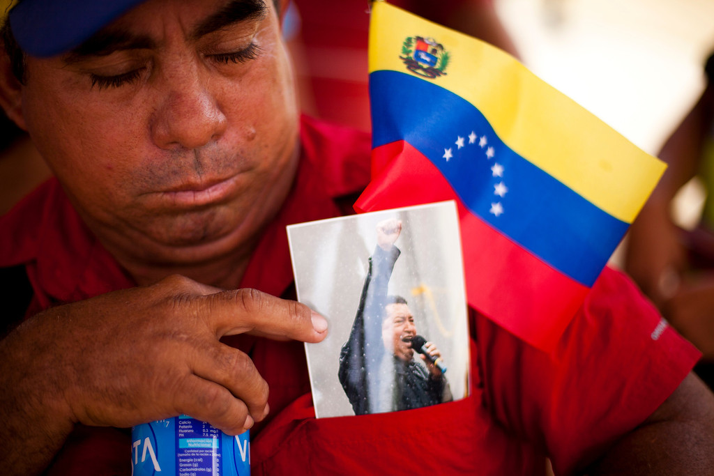 . Supporters of late Venezuela\'s President Hugo Chavez await their turn to pay their last homage to their leader, in Caracas, on March 12, 2013. The campaign to succeed the late Hugo Chavez in Venezuela has officially begun. LEO RAMIREZ/AFP/Getty Images