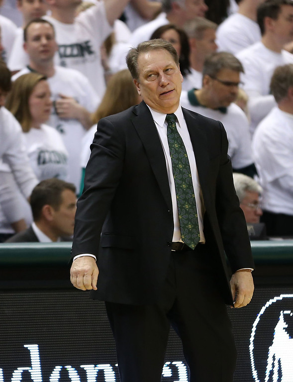 . Michigan State Spartans head basketball coach Tom Izzo reacts to a call late in the second half of the game against the  University of Illinois at the Breslin Center on March 1, 2014 in East Lansing, Michigan. Illinois defeated Michigan State 53-46. (Photo by Leon Halip/Getty Images)