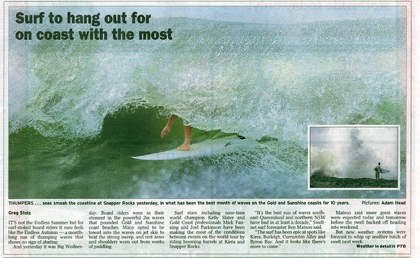 Courier Mail surfing article by Greg Stolz; 23 April 2009. The 2 newspaper photos by Adam Head.