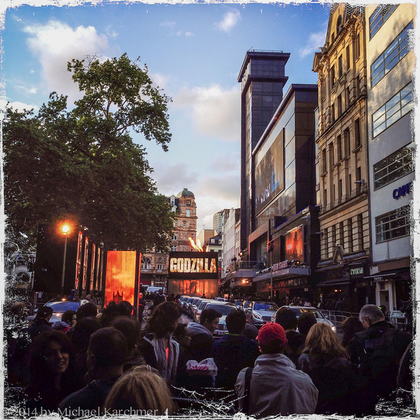 """European premiere of """"Godzilla"""" with crowds and limos, Leicester Square (May, 2014)"""