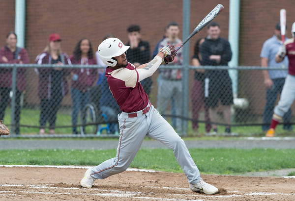 05/29/19 Wesley Bunnell | Staff Southington defeated New Britain 4-3 in 11 innings on a walk off single by Billy Carr (17) in the continuation of a game suspended in the 10th inning due to rain on May 29th.
