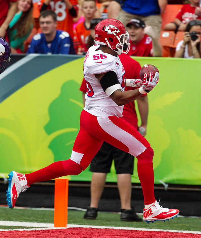 . Kansas City Chiefs inside linebacker Derrick Johnson (56) of the AFC returns an interception for a touchdown against the NFC during the second quarter of the NFL football Pro Bowl game in Honolulu, Sunday, Jan. 27, 2013. (AP Photo/Marco Garcia)