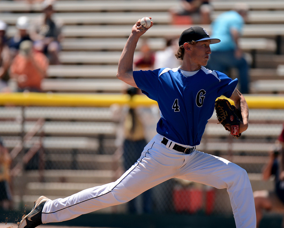 . DENVER, CO. - MAY 24 : Tanner Thomas of Grandview High School pitches against Rocky Mountain High School during semifinal round of 5A State Championships baseball game at All City Field. Denver, Colorado. May 24, 2013. Rocky Mountain won 8-6. (Photo By Hyoung Chang/The Denver Post)