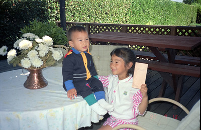Kyle and Tiffany in backyard of Marilla Ct in Saratoga-1990